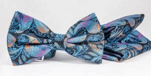paisley blue bow tie