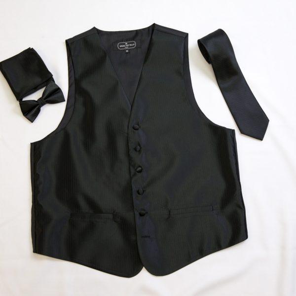black vertical line pattern vest set