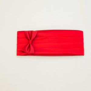 red silk cummerbund and bow tie